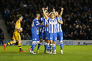 Brighton striker, Anthony Knockaert (27) celebrates Brighton striker, Tomer Hemed (10) opening goal during the Sky Bet Championship match between Brighton and Hove Albion and Fulham at the American Express Community Stadium, Brighton and Hove, England on 15 April 2016. Photo by Phil Duncan.