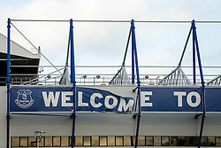 """General View of wind damage on the """"Welcome to Goodison Park"""" on the outside of the stadium before the match - Photo mandatory by-line: Rogan Thomson/JMP - 07966 386802 - 10/01/2015 - SPORT - FOOTBALL - Liverpool, England - Goodison Park - Everton v Manchester City - Barclays Premier League."""