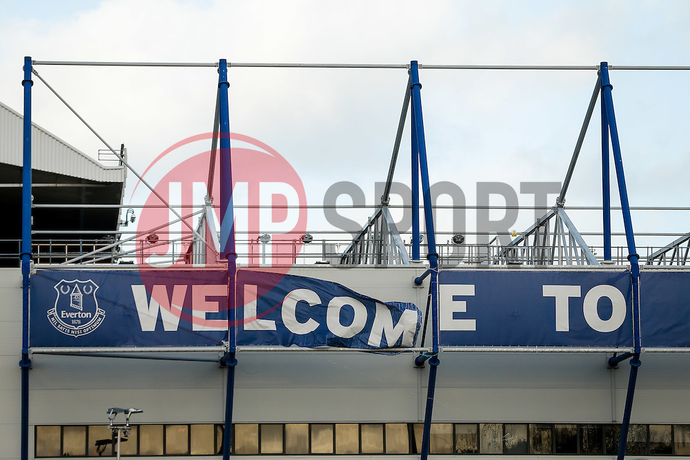 "General View of wind damage on the ""Welcome to Goodison Park"" on the outside of the stadium before the match - Photo mandatory by-line: Rogan Thomson/JMP - 07966 386802 - 10/01/2015 - SPORT - FOOTBALL - Liverpool, England - Goodison Park - Everton v Manchester City - Barclays Premier League."