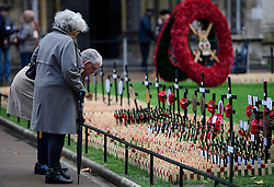 © Licensed to London News Pictures. 09/11/2016. London, UK. An elderly man and woman look at crosses placed in the field of remembrance at Westminster Abbey in London, ahead of it opening officially tomorrow (Thurs). The Field of Remembrance pays tribute to all  Service men and women who have served in our Armed Forces since World War I. Photo credit: Ben Cawthra/LNP