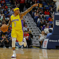 Feb 14, 2018; New Orleans, LA, USA; Los Angeles Lakers guard Isaiah Thomas (7) against the New Orleans Pelicans during the first quarter at the Smoothie King Center. Mandatory Credit: Derick E. Hingle-USA TODAY Sports