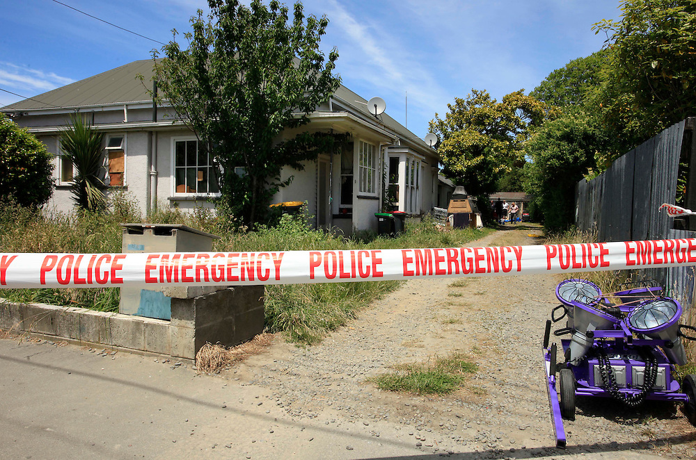 A police forensic examination at a Linwood house, the latest phase in the enquiry for missing teenager Hayden Miles, Christchurch, New Zealand, Wednesday, Friday, December 02, 2011. Credit:SNPA / Pam Johnson