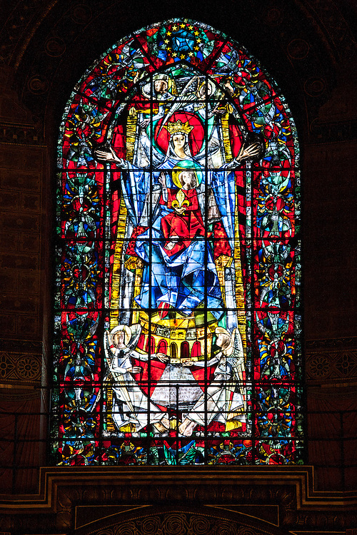 Stained glass window in The Cathedral of Notre Dame, Our Lady,  at Strasbourg, Alsace, France