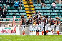 KELOWNA, BC - SEPTEMBER 22: Tyler Going #20 of Okanagan Sun stands on the sidelines during the national anthem against the Valley Huskers at the Apple Bowl on September 22, 2019 in Kelowna, Canada. (Photo by Marissa Baecker/Shoot the Breeze)
