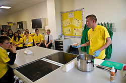 Pictured: Chef Jordan Docherty<br /> Inch by Inch for Scotland launched a major national obesity campaign today at Portobello High School. Chef Jordan Docherty was on hand to show how he turned his life around from drink and drugs in his early life with support from the campaign.  He was keen to show the school students that they could make healthy food on a budget and his version of a pot noodle made in five miutes went down well.    &lsquo;Inch by Inch for Scotland&rsquo; is a campaign aimed at reducing obesity amongst the population of Scotland by creating positive content aimed at teenagers and families to challenge them to take part in exercises or in preparing a healthier diet.<br /> <br /> The core idea for the campaign is to encourage teenagers and parents to do a small change or to take part in a small activity that will hopefully create an incremental change where people want to live healthier lives. Ultimately the goal is to change the culture of the nation, although we understand that we need to take small incremental steps at first &ndash; hence &ndash; &lsquo;Inch by Inch&rsquo;.<br /> <br /> <br /> Ger Harley | EEm 7 September 2017