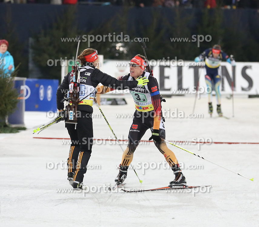 28.12.2013, Veltins Arena, Gelsenkirchen, GER, IBU Biathlon, Biathlon World Team Challenge 2013, im Bild Laura Dahlmeier (Deutschland / Germany), Florian Graf (Deutschland / Germany) jubeln beim Zieleinlauf, freuen sich, celebrating their victory, Emtotion, Freude, Glueck, Luck // during the IBU Biathlon World Team Challenge 2013 at the Veltins Arena in Gelsenkirchen, Germany on 2013/12/28. EXPA Pictures &copy; 2013, PhotoCredit: EXPA/ Eibner-Pressefoto/ Schueler<br /> <br /> *****ATTENTION - OUT of GER*****