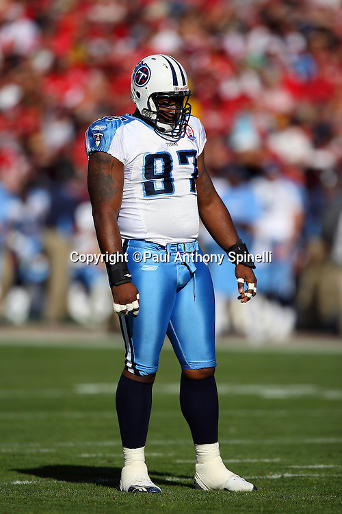 Tennessee Titans defensive tackle Tony Brown (97) looks on during the NFL football game against the San Francisco 49ers, November 8, 2009 in San Francisco, California. The Titans won the game 34-27. (©Paul Anthony Spinelli)