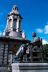 IRELAND DUBLIN JUL99 - A statue of Edmund Burke stands next to the Bell Tower at Dublin's Trinity College compound. The famous philosopher and statesman Burke (1729-97) adopted an interesting political position, simultaneously defending Ireland's independence and insisting on its role as an integral part of the British Empire...jre/Photo by Jiri Rezac..© Jiri Rezac 1999..Contact: +44 (0) 7050 110 417.Mobile: +44 (0) 7801 337 683.Office: +44 (0) 20 8968 9635..Email: jiri@jirirezac.com.Web: www.jirirezac.com..© All images Jiri Rezac 1999 - All rights reserved.