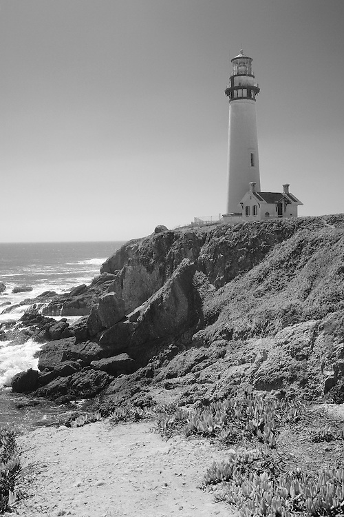 Pigeon Point Lighthouse Cliff View - North Santa Cruz County, CA - Black & White
