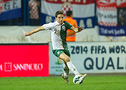 OSIJEK, CROATIA - Tuesday, October 16, 2012: Wales' Joe Allen in action against Croatia during the Brazil 2014 FIFA World Cup Qualifying Group A match at the Stadion Gradski Vrt. (Pic by David Rawcliffe/Propaganda)