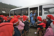 Hilltribe villages around Sapa. Red Dzao women trying to sell souvenirs to tourists.