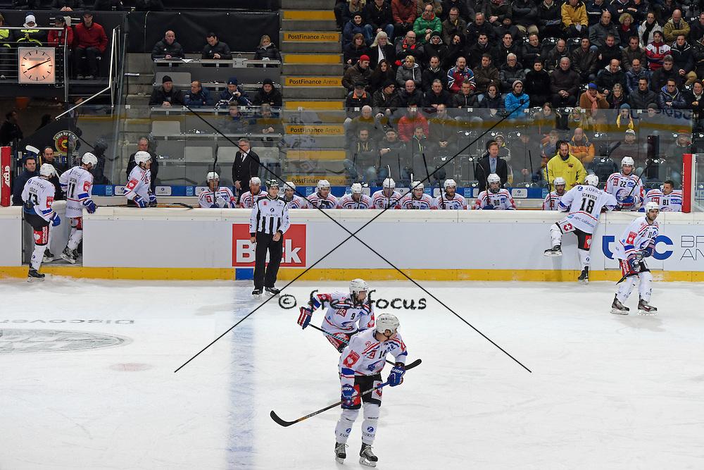 07.01.2015; Bern; Eishockey Schweizer Cup - SC Bern - ZSC Lions; <br /> Spielerbank<br /> (Urs Lindt/freshfocus)