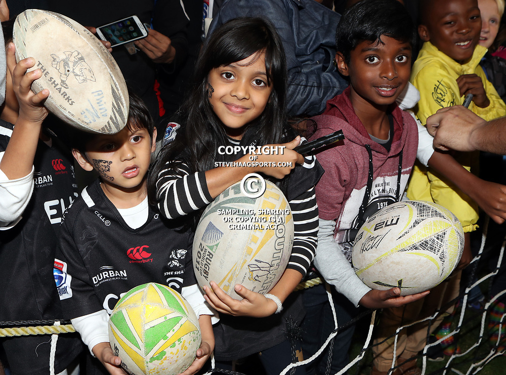 DURBAN, SOUTH AFRICA - MAY 27: Young fans during the Super Rugby match between Cell C Sharks and DHL Stormers at Growthpoint Kings Park on May 27, 2017 in Durban, South Africa. (Photo by Steve Haag/Gallo Images)