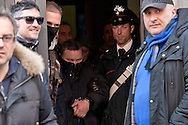 "One of the 24 arrested by Carabinieri.<br /> The Carabinieri of the Rome Provincial Command  have arrested 23 people suspected of being part of a group dedicated to robbery in the house.  At the head of the criminal group Manlio Vitale, said ""er Gnappa"", formerly of the Magliana gang. About 200 Carabinieri, with the help of sniffer dogs and a helicopter, they performed arrests, searches and seizures in the entire province of Rome. Rome Italy. 15th March 2016"