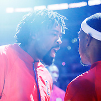 12 December 2016: LA Clippers center DeAndre Jordan (6) talks to LA Clippers forward Paul Pierce (34) during the players introduction prior to the LA Clippers 121-120 victory over the Portland Trail Blazers, at the Staples Center, Los Angeles, California, USA.