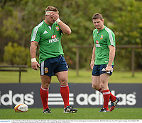 3 July 2013; Brian O'Driscoll and Tom Youngs, left, British & Irish Lions, during squad training ahead of their 3rd test match against Australia on Saturday. British & Irish Lions Tour 2013, Squad Training. Noosa Dolphins RFC, Dolphin Oval, Sunshine Beach, Queensland, Australia. Picture credit: Stephen McCarthy / SPORTSFILE