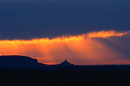 Chimney Rock- Nebraska Panhandle. Challenging an evening thunderstorm on the High Plains, Chimney Rock stands a lone sentinel on the prairie, piercing the horizon to point the way west to all those who seek hope and promise of a better life in the American West. Chimney Rock once was an important landmark for pioneers during their westward migration along the Platte River Road a century and a half ago. Today, it is arguably the most recognized natural feature on the Oregon Trail.