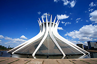 Catedral Metropolitana Nossa Senhora Aparecida<br /> The Metropolitan Cathedral of Brasilia city capital of Brazil UNESCO World Heritage site is an expression of the geniality of the architect Oscar Niemeyer