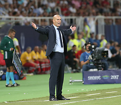 August 8, 2017 - Skopje, Macedonia - Zinedine Zidane, Manager of Real Madrid reacts during the UEFA Super Cup match between Real Madrid and Manchester United at National Arena Filip II Macedonian on August 8, 2017 in Skopje, Macedonia. (Credit Image: © Raddad Jebarah/NurPhoto via ZUMA Press)
