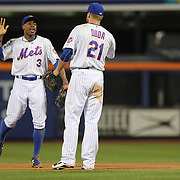 Curtis Granderson and Lucas Duda, New York Mets, celebrate the win during the New York Mets Vs Washington Nationals. MLB regular season baseball game at Citi Field, Queens, New York. USA. 1st August 2015. (Tim Clayton for New York Daily News)