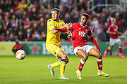 Leeds Scott Wootton and Callum Robinson during the Sky Bet Championship match between Bristol City and Leeds United at Ashton Gate, Bristol, England on 19 August 2015. Photo by Shane Healey.