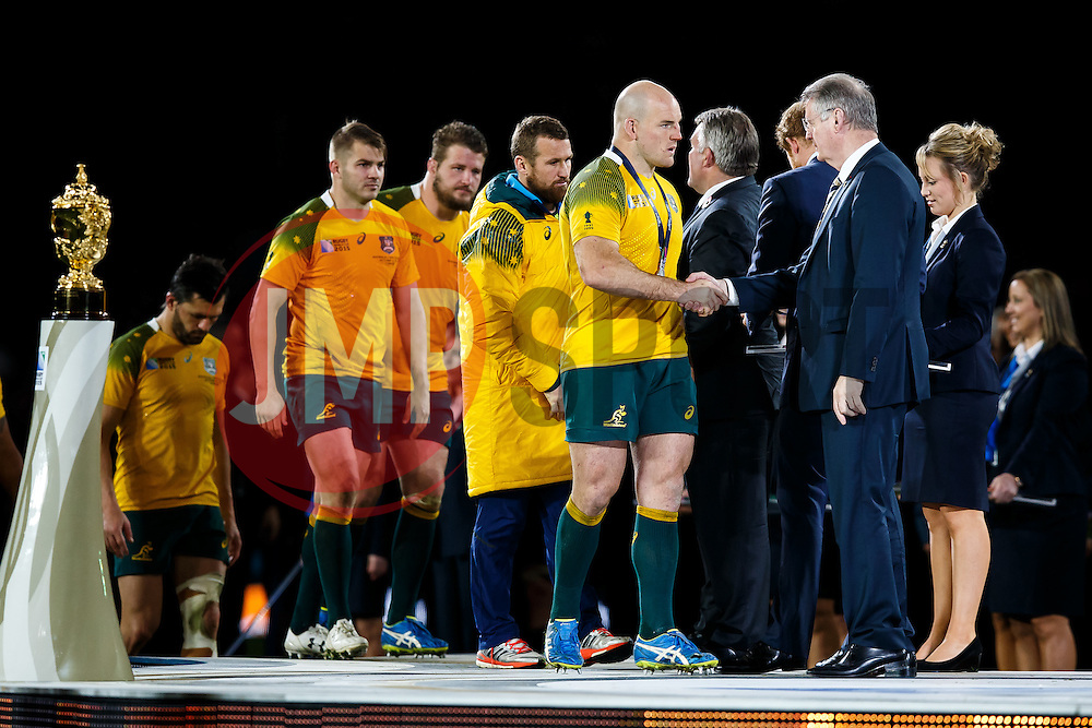 Dejected Australia captain Stephen Moore collectects his runners up medal  after New Zealand win the match 34-17 to become 2015 World Cup Champions - Mandatory byline: Rogan Thomson/JMP - 07966 386802 - 31/10/2015 - RUGBY UNION - Twickenham Stadium - London, England - New Zealand v Australia - Rugby World Cup 2015 FINAL.