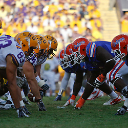October 8, 2011; Baton Rouge, LA, USA;  The LSU Tigers line up against the Florida Gators during the second half at Tiger Stadium. LSU defeated Florida 41-11. Mandatory Credit: Derick E. Hingle-US PRESSWIRE / © Derick E. Hingle 2011
