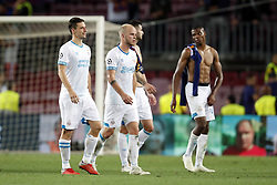 (l-r) Nick Viergever of PSV, Jorrit Hendrix of PSV, Gaston Pereiro of PSV, Nicolas Isimat-Mirin of PSV during the UEFA Champions League group B match between FC Barcelona and PSV Eindhoven at the Camp Nou stadium on September 18, 2018 in Barcelona, Spain.