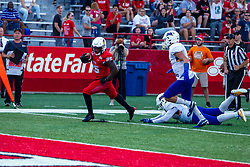 NORMAL, IL - September 07: James Robinson steps away from the last 2 Eagles defenders before scoring a touchdown during a college football game between the ISU (Illinois State University) Redbirds and the Morehead State Eagles on September 07 2019 at Hancock Stadium in Normal, IL. (Photo by Alan Look)