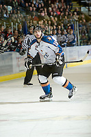 KELOWNA, CANADA, NOVEMBER 25: Brendan Hurley #25 of the Kootenay Ice skates on the ice as the Kootenay Ice visit the Kelowna Rockets  on November 25, 2011 at Prospera Place in Kelowna, British Columbia, Canada (Photo by Marissa Baecker/Shoot the Breeze) *** Local Caption *** Brendan Hurley;