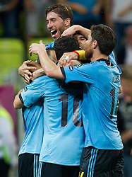 Players of Spain celebrate during the UEFA EURO 2012 group C match between  Croatia and Spain at PGE Arena Gdansk on June 18, 2012 in Gdansk / Danzig, Poland. (Photo by Vid Ponikvar / Sportida.com)