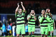 Forest Green Rovers Liam Noble(15) and the rest of the team acknowledge the supporters at the end of the match during the Vanarama National League match between Macclesfield Town and Forest Green Rovers at Moss Rose, Macclesfield, United Kingdom on 12 November 2016. Photo by Shane Healey.