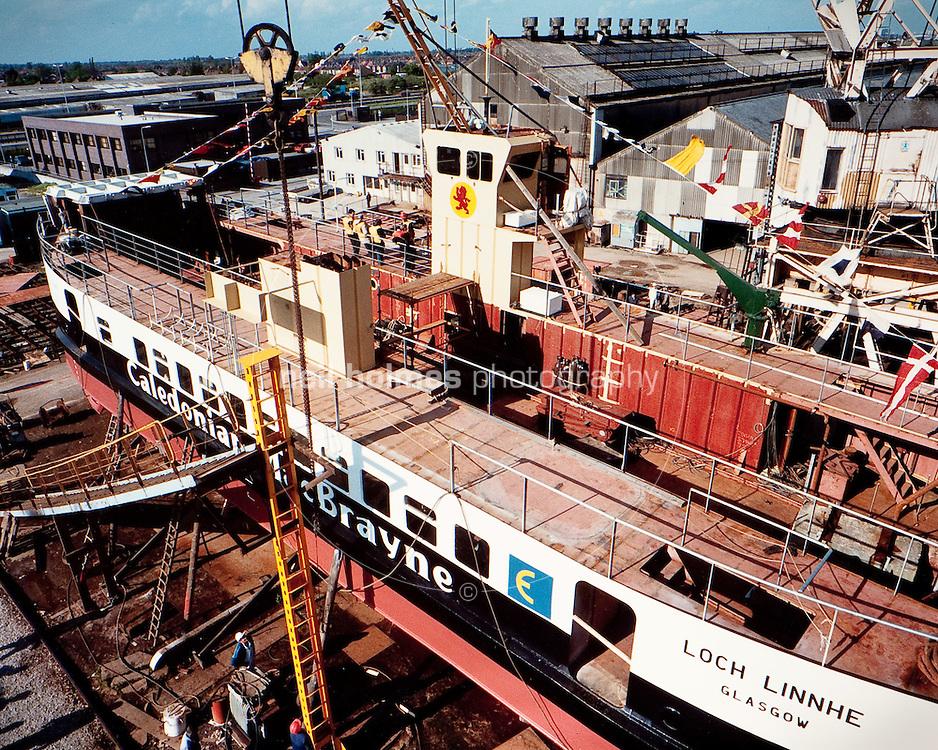 Caledonian MacBrayne Loch Linnhe, seen here ubder construction in 1986, at the Richard Dunston (Hessle) Ltd shipyard, North Humberside. The vessel still works the Tobermory (Mull) - Kilchoan route
