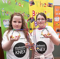 Saoirse Hickey Cahill and Aoife McDonagh from Buaile Beag Rahoon at the Medtronic Community Event , comprising of projects about Healthy Living and the heart, KNEX finals and Lean Sigma catapult competition organised by the Galway Education Centre at the Radisson Blu Hotel Galway. Photo:Andrew Downes.