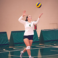 2nd year setter, Claire Douglas (4) of the Regina Cougars serves during the Women's Volleyball pre-season game on Sat Sep 22 at Centre for Kinesiology, Health & Sport. Credit: Arthur Ward/Arthur Images