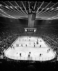 Oakland Alameda County Coliseum Arena, opening night of the California Seals vs. San Diego Gulls hockey game...(1966 photo/Ron Riesterer)