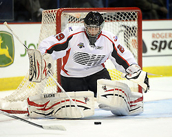 Mark Visentin helped Team OHL to a 2-1 shootout win over Russia in Game 4 of the SUBWAY Super Series in Sudbury, ON on Monday Nov. 15, 2010.  Photo by Aaron Bell/OHL Images