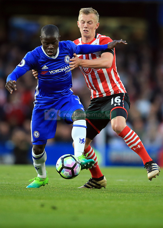 25 April 2017 - Premier League - Chelsea v Southampton - Ngolo Kante of Chelsea in action with James Ward-Prowse of Southampton - Photo: Marc Atkins / Offside.