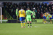 Torquay Uniteds David Fitzpatrick scores from a free kick, 3-5 during the Vanarama National League match between Forest Green Rovers and Torquay United at the New Lawn, Forest Green, United Kingdom on 1 January 2017. Photo by Shane Healey.