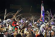 Nederland, Nijmegen, 22-1-2012In de Jan Massinkhal vond het jaarlijkse Prinsentreffen plaats.75 Carnavalsprinsen en hun hofdames staan op het podium. De veren op hun steken komen van fazanten. Klaar voor het Carnaval.Foto: Flip Franssen/Hollandse Hoogte