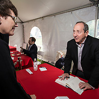 Will Schwalbe signs books at the 2017 Morristown Festival of Books, Morristown, NJ, 10/14/17.