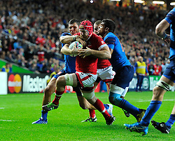 Kyle Gilmour of Canada is stopped by the French defence  - Mandatory byline: Joe Meredith/JMP - 07966386802 - 01/10/2015 - Rugby Union, World Cup - Stadium:MK -Milton Keynes,England - France v Canada - Rugby World Cup 2015