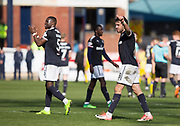 21st April 2018, Dens Park, Dundee, Scotland; Scottish Premier League football, Dundee versus St Johnstone; Genseric Kusunga and \two goal Sofien Moussa of Dundee at the end