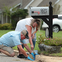 Adam Robison | BUY AT PHOTOS.DJOURNAL.COM<br /> Mike and Tacy Richey, of Tupelo, paint a thin blue line on the curb at there home in the Bristow Acers subdivision to show their support for law enforcement Wednesday afternoon in Tupelo.