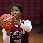 December 16, 2016 - New York, NY : Danielle Burns, a senior guard/forward for the Fordham University Women's Basketball Team, (22), practices with the team in Rose Hill Gymnasium on Friday. CREDIT: Karsten Moran for The New York Times