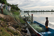 Commercial shark fishermen<br /> Nets to catch tarpon for shark bait<br /> Quetzalito<br /> Guatemala<br /> Central America