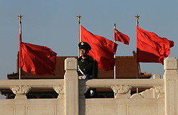 An officers of the People's Liberation Army (PLA) stand at attention on Tiananmen Square during the opening ceremony of the 4th session of the 11th National Committee of the Chinese People's Political Consultative Conference (CPPCC) at the Great Hall of the People in Beijing, China 03 March 2011. The CPPCC is the top advisory body of the Chinese political system and the session precedes the 8 days of annual plenary meetings of the 11th National People's Congress (NPC) which is due to commence 05 March 2011. The two meetings are the first public declaration of the goals of the next five year plan and lay the groundwork for the economic and political direction of the country