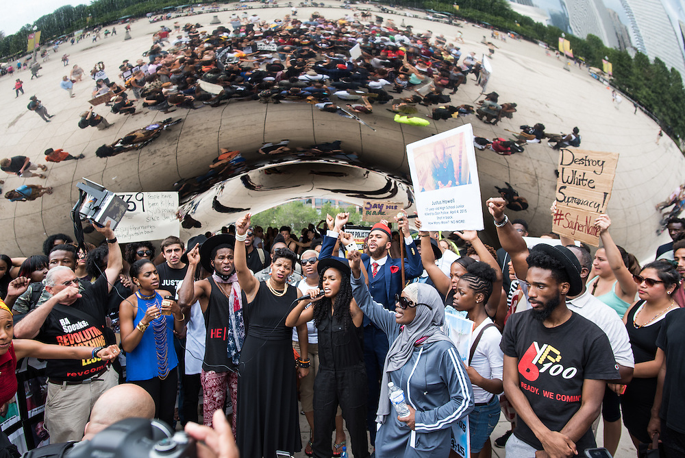 Janelle Monae and Wondaland artists join Chicago activists lead a rally against police-involved violence held at Millennium Park on August 17, 2015.