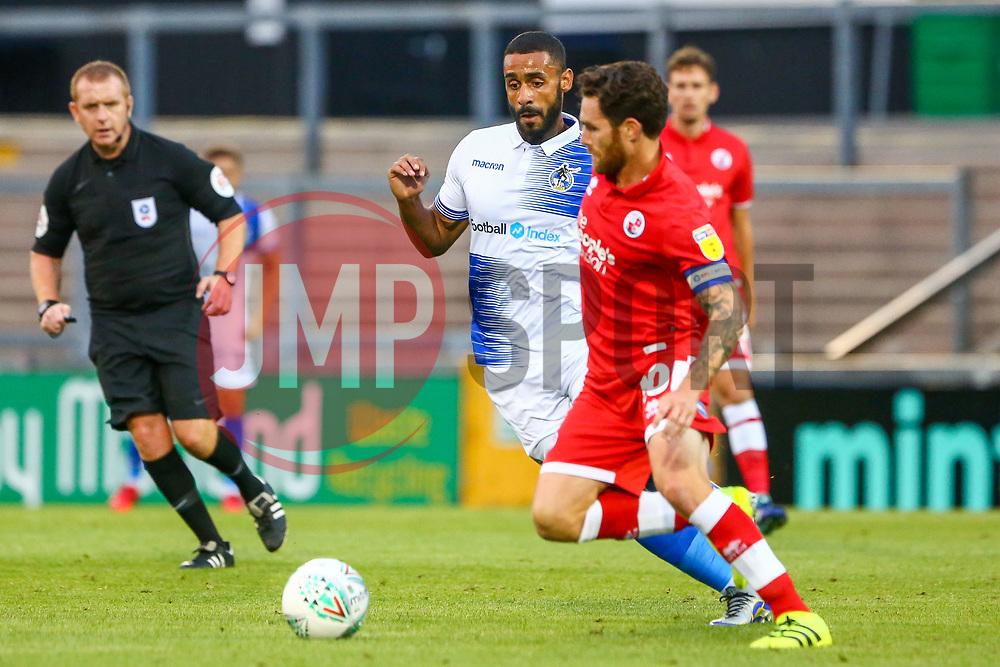 Stefan Payne of Bristol Rovers challenges Romain Vincelot of Crawley Town  - Mandatory by-line: Ryan Hiscott/JMP - 14/08/2018 - FOOTBALL - Memorial Stadium - Bristol, England - Bristol Rovers v Crawley Town - Carabao Cup