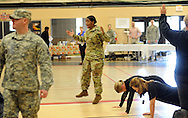 SFC Carla Stancil reacts when BootCampers don't follow instructions during an Honorary Commander boot camp for 40 local officials Thursday October 29, 2015 at Joint Base McGuire-Dix-Lakehurst  in Fort Dix, New Jersey. Participants experienced combined arms training, simulated combat environments and enjoyed a military cuisine. (Photo by William Thomas Cain)